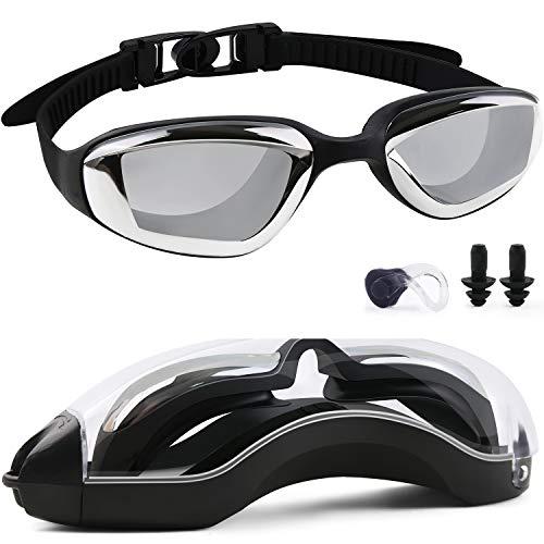 Songwin Schwimmbrille, Verspiegelte Schwimmbrillen Kein Auslaufen Antibeschlag UV-Schutz Triathlon-Wasserbrille mit kostenlosem Schutzetui für Erwachsene Männer Frauen Frauen Jugendliche