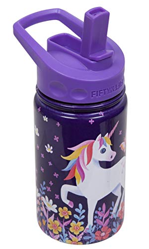 Review Of FIFTY/FIFTY 12oz Kids Bottle with Straw Cap by Jane Schettle (Purple - Unicorn)