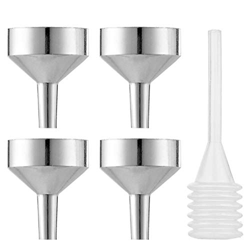 MYLL 4 Piezas Mini Embudo Pequeño de Metal con Pipeta | Embudos Pequeños/Embudo Perfume para Aceite, Muestras y Aceite Esencial (Dia. 18mm)