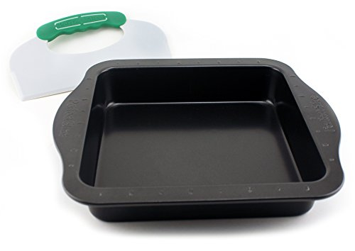 """BergHOFF Perfect Slice Square 9"""" Inch Cake Pan With Perfect Slicing Tool. Creates Perfect Portions Of Your Baking And Holiday Dishes. Perfect Portions For All Of Your Family Desserts"""