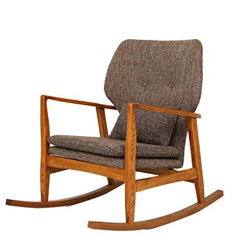 Schaukelstuhl Recliner Moderne Freizeit Lazy Couch Chair Balkon Schaukelstuhl Sofa Schaukelstühle für Erwachsene Walnussfarbe