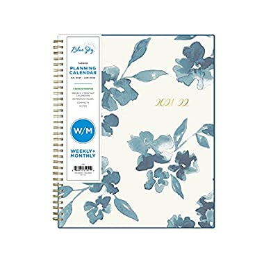 Blue Sky 2021-2022 Academic Year Weekly & Monthly Planner, 8.5″ x 11″, Frosted Flexible Cover, Wirebound, Bakah Blue (131951)