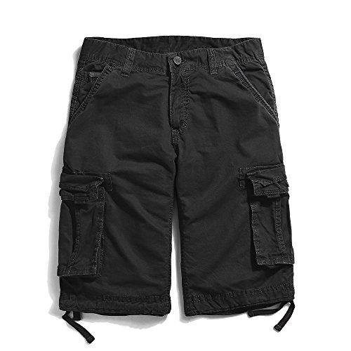OCHENTA Men's Cotton Casual Loose Fit Cargo Shorts #3229 Black 36