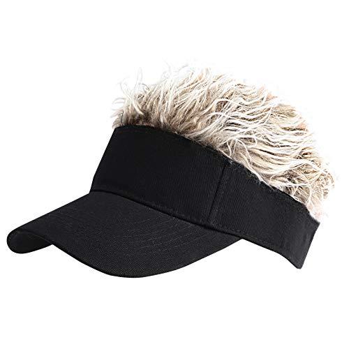 WITHMOONS Flair Hair Sun Visor Cap with Fake Hair Wig Novelty KR1588 (Easyblack)
