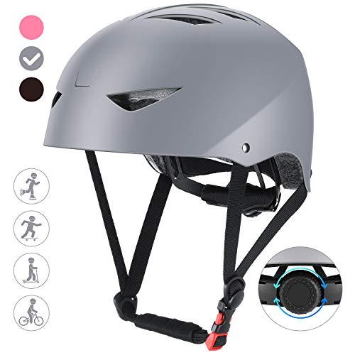 ValueTalks Casco Bicicleta Infantil con ajustador para Monopatín Patinaje BMX Esquiar,Apto para los niños de 6-15 años(Gris)