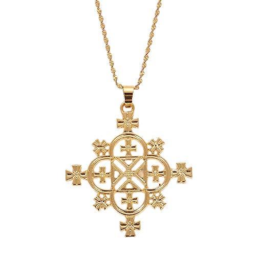 Äthiopische Große Kreuz Anhänger Halskette Frauen Gold Farbe Schmuck Afrika Kreuz Eritrea Habesha Halskette