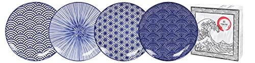 TOKYO design studio Nippon Blue 4-er Teller-Set blau-weiß, Ø 20,6 cm, ca. 2,2 cm hoch, asiatisches Porzellan, Japanisches Design mit geometrischen Mustern