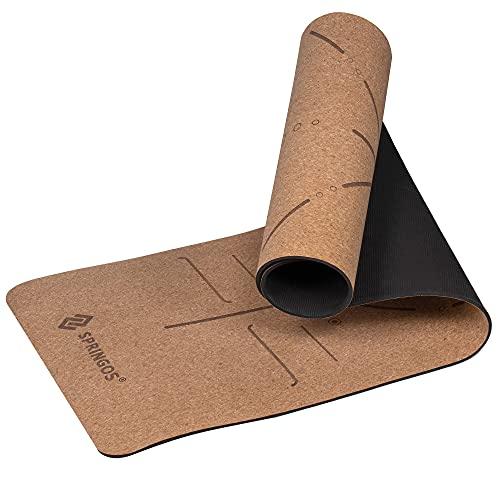 SPRINGOS Esterilla de yoga de corcho con estampado de mandala, 185 x 61 cm, 6 mm de...
