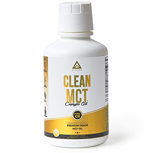 LevelUp Clean MCT Oil Capsules 100 Pure C8 Caprylic Acid Triglycerides Best Ketogenic Supplement for Everyday Use The Ultimate Keto Coffee Fat for Ketones 16oz
