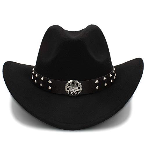 SSLA Sombrero de vaquero occidental 2018, imitación de lana, para hombre y mujer, para viaje, rendimiento punk Negro 56/58