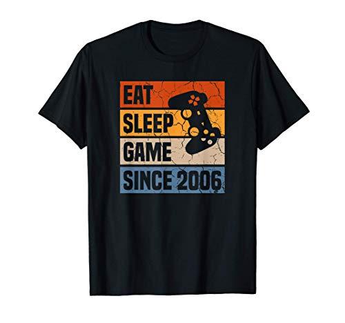 Eat Sleep Game Since 2006 15 Anni Compleanno Videogioco Maglietta