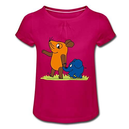 Sendung Mit Der Maus Elefant Und Maus Hand In Rüssel Mädchen T-Shirt mit Raffungen, 8 Jahre, Fuchsia