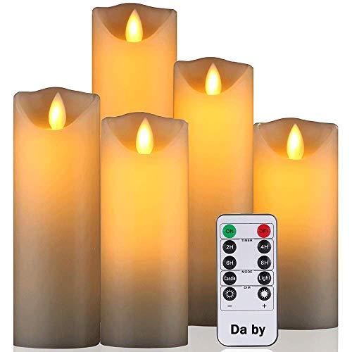 Da by LED Kerzen von, flammenlose Kerze 300 Stunden Batterie Dekorative Kerze 5er Set (13cm, 14cm, 16cm, 18cm, 20cm).Die echt blinkende LED-Flamme ist aus Beige Echtwachs gefertigt
