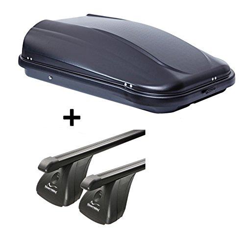VDP Dachbox JUPRE320 320Ltr schwarz glänzend abschließbar + Stahl Dachträger Aurilis Original kompatibel mit Opel Corsa D (3-5Türer) 2006-2015