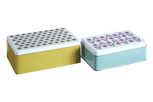 Premier Housewares Joni Stockage rectangulaire, Lot de 2, Étain, Multi/colorées, 13 x 20 x 7 cm