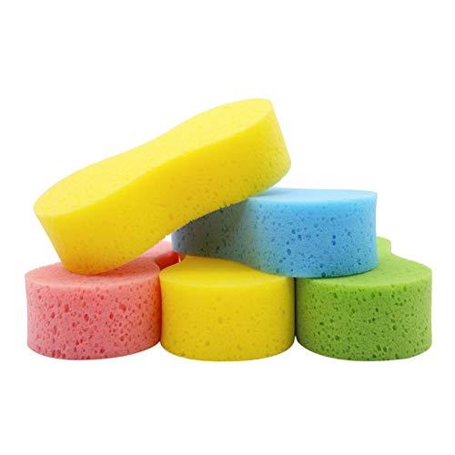 Temede Car Wash Sponge, Large Multi Use Sponges for Cleaning, 6cm Thick High Foam Scrubber Kit, Sponges for Dishes, Tile, Bike, Boat, Easy Grip Sponge for Kitchen, Bathroom, Household Cleaning, 5pcs