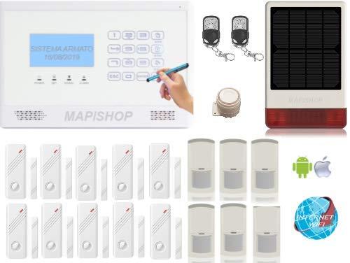 Mapishop CLARENCE Allarme Casa Kit nuovo modello 2020, Con INTERNET wifi , COMPLETAMENTE CONFIGURATO (CLAR b 3solar )