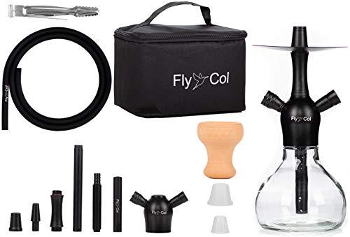 FlyCol Nano X mini Reise Shisha Set | Travel Shisha Wasserpeife mit Zubehör und Tasche | Kleine Shisha für unterwegs Mini Shisha Nano Hookah (Schwarz)