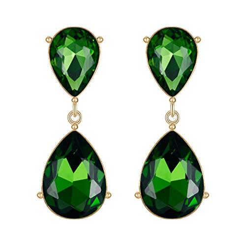 EVER FAITH Gold-Tone Teardrop Dangle Earrings Emerald Color Austrian Crystal - 1.7 Inch Long