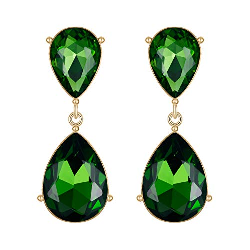 EVER FAITH Gold-Tone Teardrop Dangle Earrings Emerald Color Austrian Crystal - 1.7 Inch Long