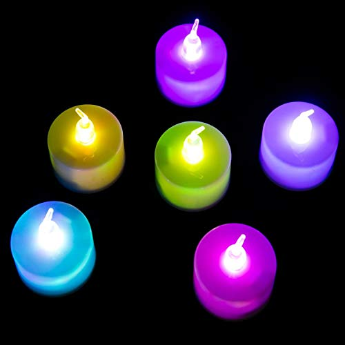 AOYU DROAJORNY LED Tea Light for Valentine Day, Easter Party Decor Chiristmas Halloween (Quick Flashing 7-Color)
