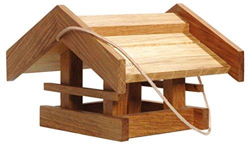 Luxus-Vogelhaus 46036e Solides Eiche-Vogelfutterhaus Basis mit Lederkordel, 31 x 28 x 20 cm