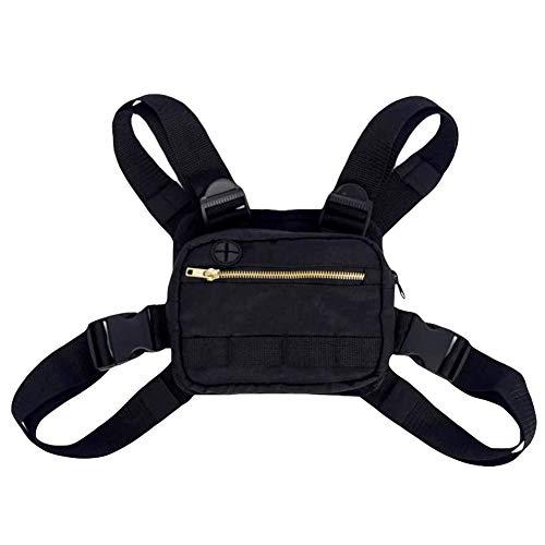 PTONZ Pecho Rig Bag Función Hip Hop Ajustable Táctico Bolsas Riñonera Streetwear Riñoneras Hombro Cruzada Paquetes de Cintura Funcionales Bolsa de Accesorios Teléfono Móvil Unisex-Negro