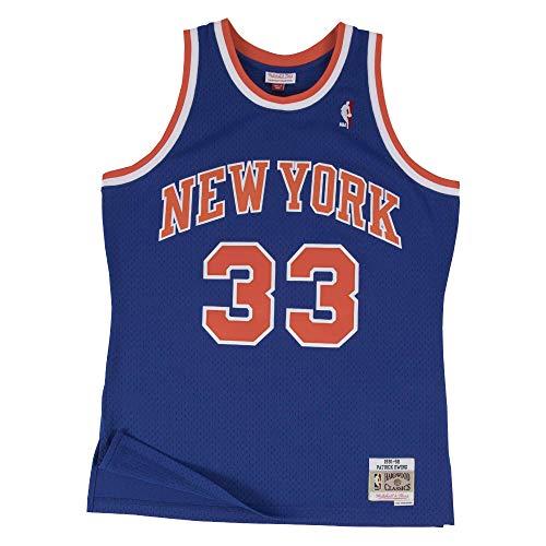 YMXBK Herren Basketball Uniform Knicks 33# Patrick Ewing Blau Vintage Mesh Jersey Westen Tops /Ärmellose T-Shirts