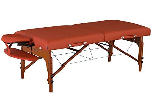 "Master Massage 31"" Santana LX Portable Massage Table Package, Memory Foam Reiki Mountain Red, Chestnut/Elm, Standard"