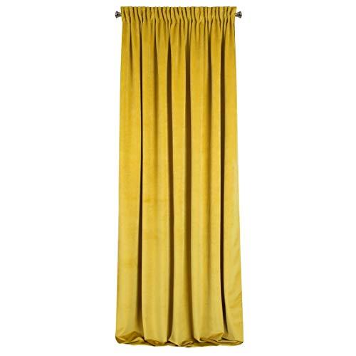Eurofirany Cortina Ria Velvet Mosta, Terciopelo, 1 Unidad, Suave Cinta Fruncida, Elegante,, glamuroso, Dormitorio, salón, salón, Amarillo Mostaza, 140 x 270 cm