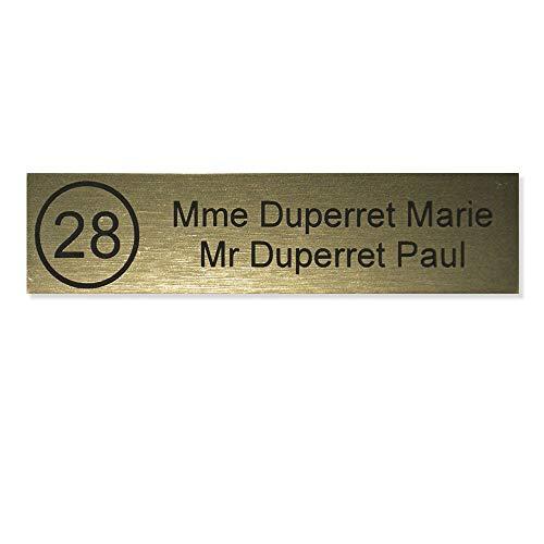 Placca cassetta delle lettere Numero decayeux (100x 25mm) Oro Spazzolato lettere nere–2linee