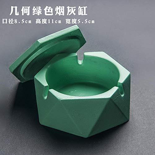 Posacenere in ceramica nordica posacenere creativo casa ufficio posacenere antivento Posacenere verde geometrico (con coperchio)