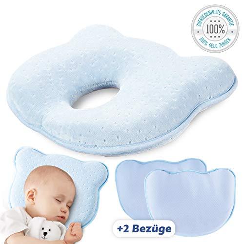 Babykopfkissen gegen Plattkopf | Inkl. 2 waschbare Bezüge | Orthopädisches Schlafkissen | Blau | Vermeidung von Kopfverformung in Premiumqualität von Tillmann's Deutschland