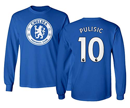 Spark Apparel London Blue #10 PULISIC Soccer Jersey Style Men's Long Sleeve T-Shirt (Royal, Medium)