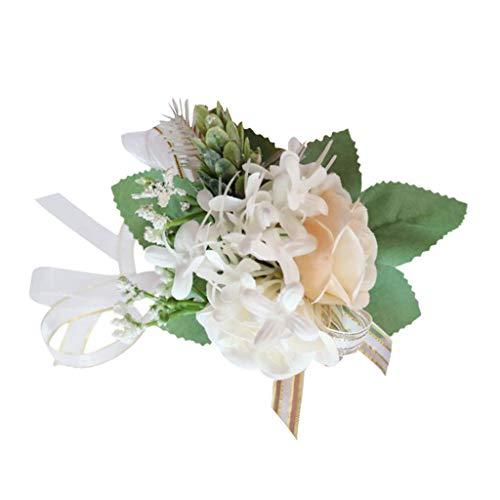 Bonarty Pulsera de flores para novia, ramillete de boda, graduación, dama de honor, fiesta, pulsera de flores