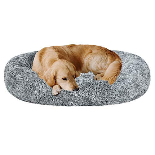 """Coohom Oval Calming Donut Cuddler Dog Bed,Shag Faux Fur Cat Bed Washable Round Pillow Pet Bed(30""""/36"""") for Small Medium Dogs (XL(36""""x27""""x7""""), Grey)"""