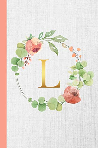 L: Monogram Initial Composition Notebook Gold & Watercolor Botanical Personalized Notebook for Girls & Women