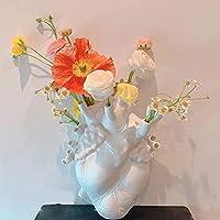 解剖心 花瓶,クリエイティブ 樹脂 植木鉢,ハート型彫刻 飾り デスクトップ プラントポット 造花 バーvvase ホーム デケーション ギフト-白小 13x9x17cm(5x4x7inch)