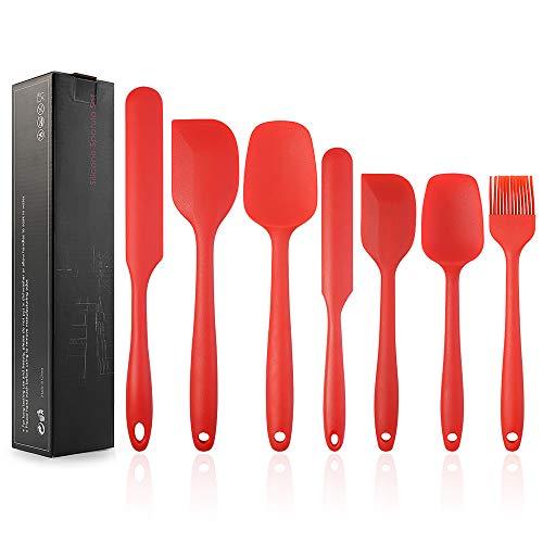 EKKONG Spatole in Silicone, Utensili da Cucina in Silicone Resistente al Calore Antiaderenti Utensili da Cucina in Silicone, Cottura in Silicone Utensili Set 7pcs (Rosso)