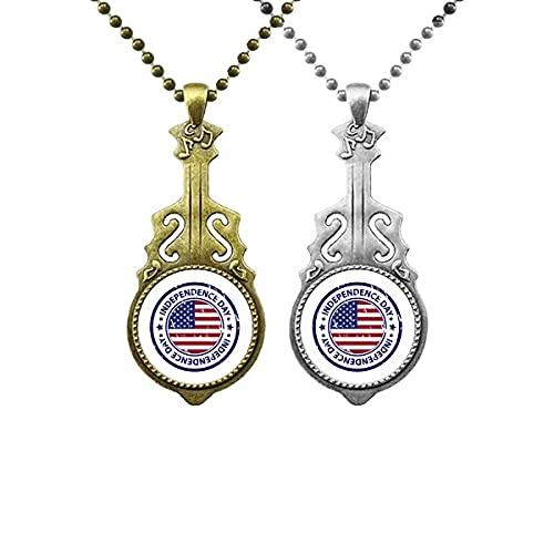 USA Independence Day Fahne Liebhaber Musik Gitarre Anhänger Schmuck Halskette Anhänger