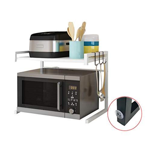 Mikrowellenherd aus Kohlenstoffstahl, Erweiterbares Mikrowellen Regal, 2-stufiges Platzsparregal und Organizer für Küchenarbeitsplatten mit 3 Haken, 110 lbs Gewichtskapazität, Weißer U-Typ