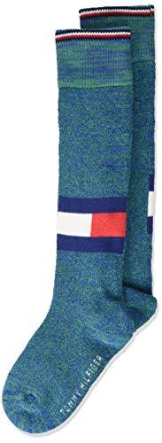 Tommy Hilfiger Jungen TH KIDS KNEEHIGH 1P LOGO RUN FREE Socken, Mehrfarbig (Blue Green 289), 35-38 (Herstellergröße: 035)