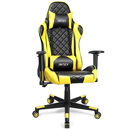 INTEY Gaming Stuhl, Schreibtischstuhl ergonomisches Design, Kunstleder Bürostuhl, Gamer Stuhl mit 3D Armlehnen, PC Stuhl mit verstellbare Armlehnen und Wippfunktion (Gelb)