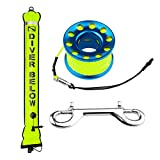 Seafard 4ft Yellow Scuba Diving Open Bottom Surface Marker Buoy (SMB) with 49ft Finger Spool Alloy Dive Reel and Double Ended Bolt Clip - Blue