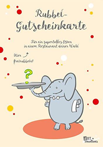 ART + emotions Rubbel- Gutscheinkarte - für EIN supertolles Essen in einem Lokal deiner Wahl- Überraschungskarte Gutschein Kratzkarte Wunschkarte