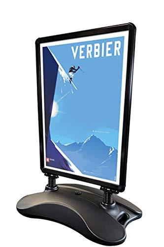 Soporte para póster modelo Wind-Sign en negro, para póster DIN A1, 594 x 841 mm, robusto y resistente a la intemperie.