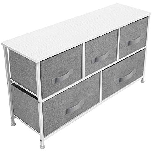 Sorbus Dresser with 5 Drawers - Furniture Storage Chest Tower Unit for Bedroom, Hallway, Closet, Office Organization - Steel Frame, Wood Top, Easy Pull Fabric Bins (White/Gray)