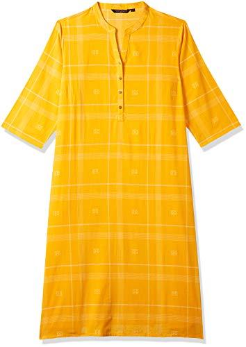 Rangmanch Plus by Pantaloons Women's cotton a-line Kurta (110058922_Yellow_Medium/20)