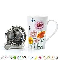 BREW TEA EASYY - Une tasse à thé avec couvercle et un infuseur à trou extra-fin de 0,3 mm aide à préparer le thé de manière simple et rapide. Grande poignée isolée thermiquement. LE COUVERCLE PEUT ÊTRE UN COASTER - Le couvercle fonctionne comme un de...