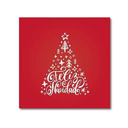 Spaanse Vrolijke Kerstmis Citaat Muur Kunst Canvas Schilderij Foto Feliz Navidad Poster Prints Kerstcadeaus Spanje Woonkamer Decor-40x50cm geen Frame